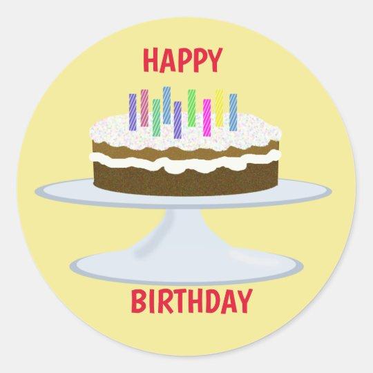 Happy Birthday Chocolate Cake And Candles Classic Round Sticker