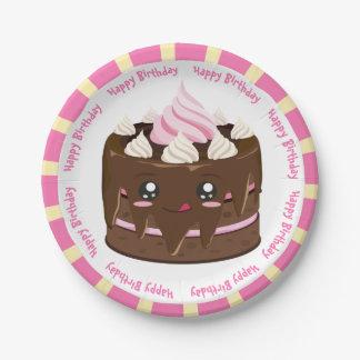 Happy birthday chocolate  kawaii cake paper plate