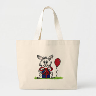 'Happy Birthday!' Chubby Bunny Design Large Tote Bag