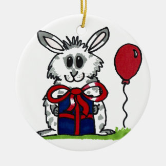 'Happy Birthday!' Chubby Bunny Design Round Ceramic Decoration