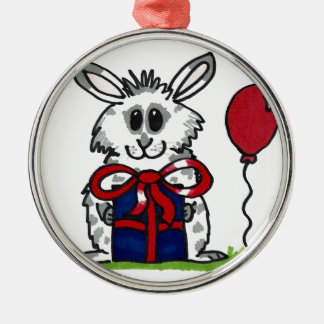 'Happy Birthday!' Chubby Bunny Design Silver-Colored Round Decoration