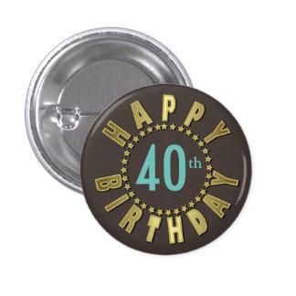 Happy Birthday Circle of Stars Gold GHBX 3 Cm Round Badge