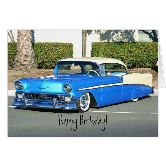 Happy Birthday Classic Blue car greeting card