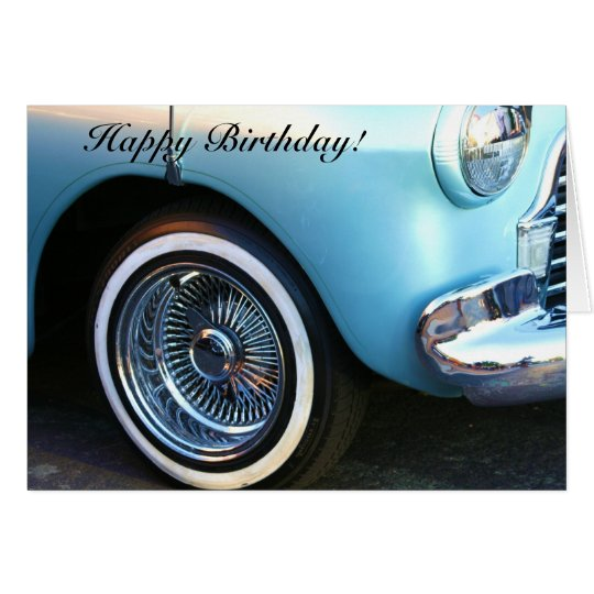 Happy Birthday Classic Blue Car greeting card