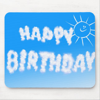 Happy birthday cloud letters mouse pad