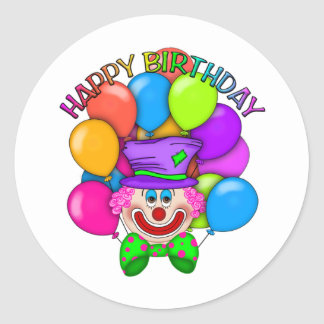 Happy Birthday Clown and Balloons Classic Round Sticker