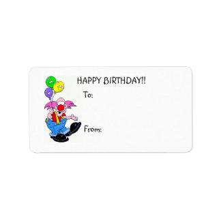 Happy Birthday Clown w/balloons Gift Label