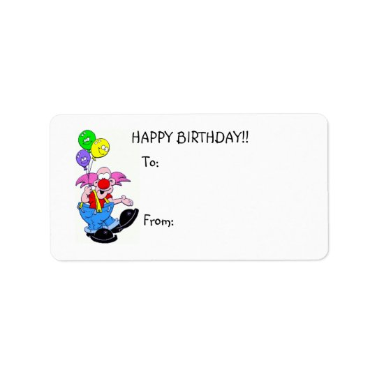 Happy Birthday Clown w/balloons Gift Label