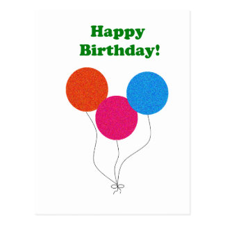 Happy Birthday Colorful Balloons Cartoon Postcard