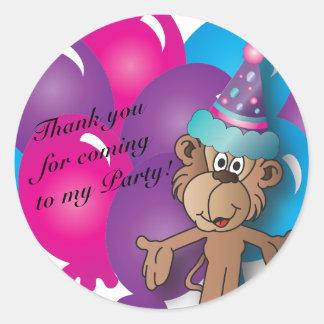 Happy  Birthday   Colorful Balloons & Monkey Round Sticker