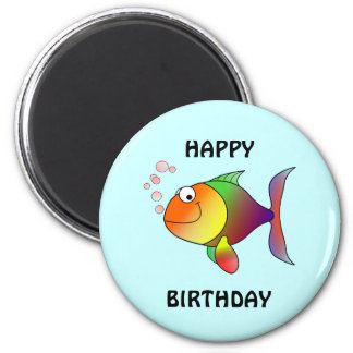 HAPPY BIRTHDAY, colorful cartoon fish, button 6 Cm Round Magnet