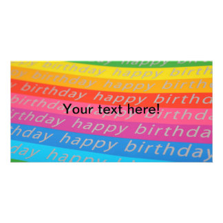 Happy birthday colorful stripes personalized photo card