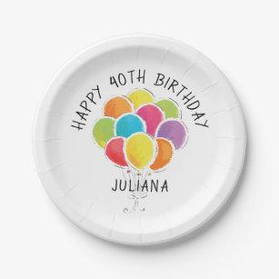 happy birthday balloons and plates zazzle uk