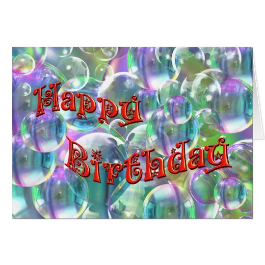 Happy Birthday Colourful Bubbles Card