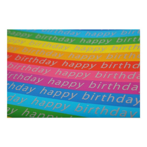 Happy birthday colourful stripes poster