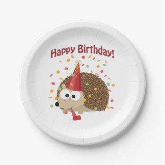 Happy Birthday! Confetti Hedgehog Paper Plate