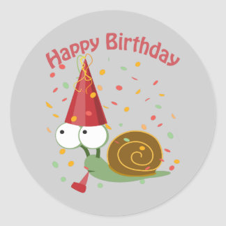 Happy Birthday! Confetti Snail Classic Round Sticker