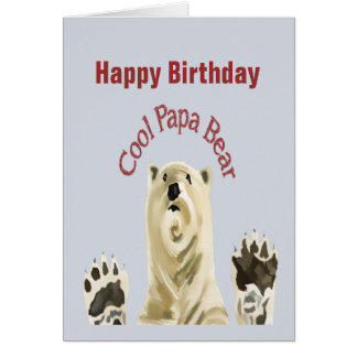 Happy Birthday Cool Papa Bear Blank Inside Card