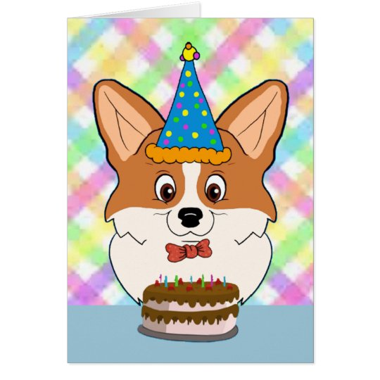 Happy Birthday Corgi Cartoon Card