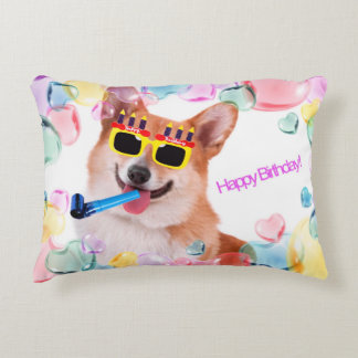 Happy Birthday Corgi Decorative Cushion