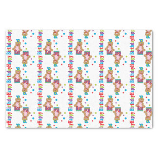 "Happy Birthday Cotton Candy Bears 10"" X 15"" Tissue Paper"