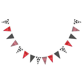 Happy Birthday Cow Pattern Red and Black Banner