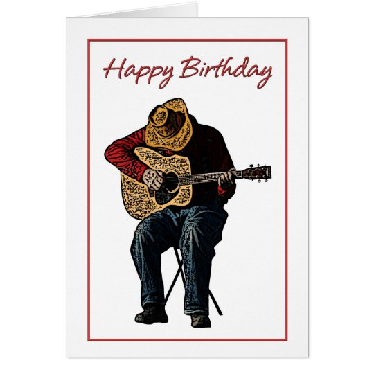 Happy Birthday Cowboy with Guitar Illustration Card