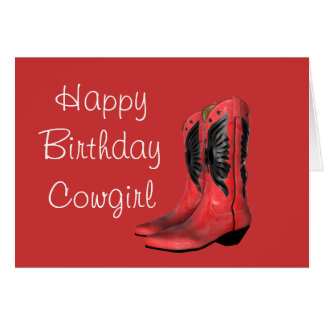 Happy Birthday Cowgirl Boots Red Greeting Card