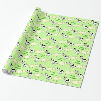 Happy Birthday. Cows and Sheep Wrapping Paper