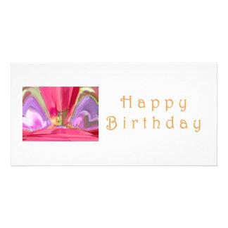 Happy Birthday Crysal: RedRose PinkRose Petal Art Customized Photo Card