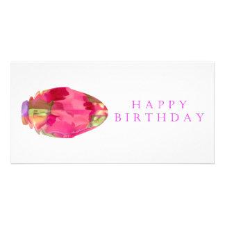 Happy Birthday Crystal RedRose PinkRose Petal Personalized Photo Card