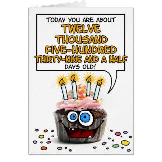 Happy Birthday Cupcake - 34 years old Greeting Card