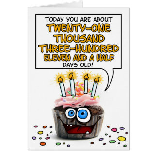 Happy Birthday Cupcake - 58 years old Card