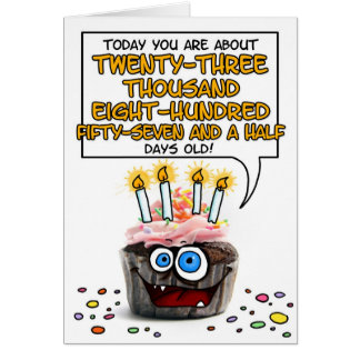 Happy Birthday Cupcake - 65 years old Card