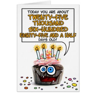 Happy Birthday Cupcake - 70 years old Card