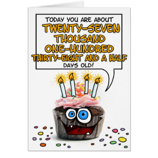 Happy Birthday Cupcake - 74 years old Greeting Card