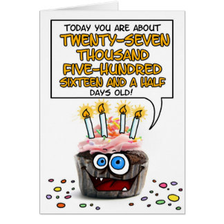 Happy Birthday Cupcake - 75 years old Greeting Card