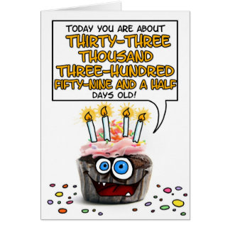 Happy Birthday Cupcake - 91 years old Greeting Card