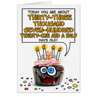 Happy Birthday Cupcake - 92 years old Greeting Card