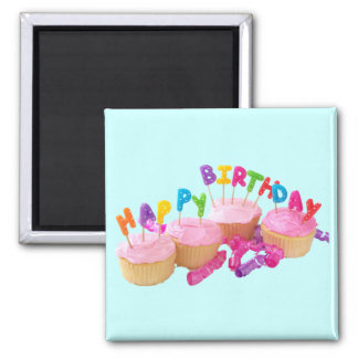 Happy Birthday Cupcake and Candles Square Magnet