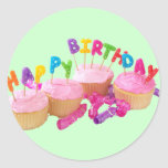 Happy Birthday Cupcake and Candles Sticker