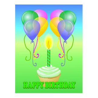 Happy Birthday Cupcake Balloons Postcard