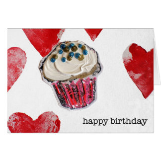 happy birthday, cupcake hearts card