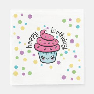 Happy Birthday Cupcake paper napkins