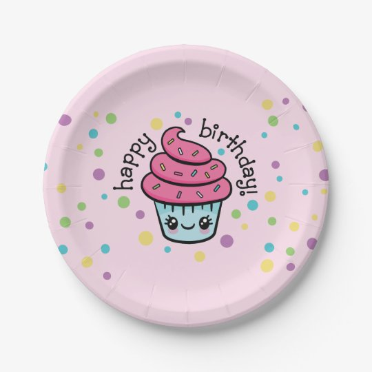 Happy Birthday Cupcake paper plates
