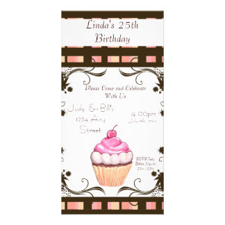Happy Birthday Cupcake Photo Greeting Card