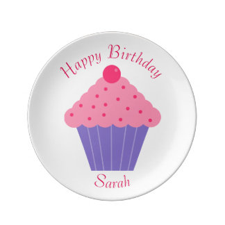Happy Birthday Cupcake Plate