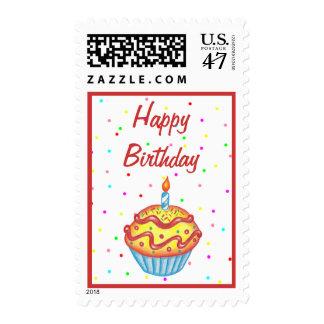 Happy Birthday Cupcake Postage Stamp