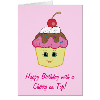 Happy Birthday Cupcake with a Cherry on Top Greeting Card