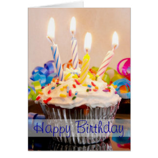 Happy Birthday Cupcake with Candles Greeting Card
